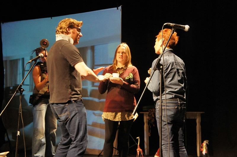 George Maddocks talks through a scene with Ceri Gifford and Fiz Marcus