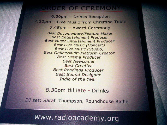 Order of Ceremony from the 2011 Radio Academy Awards