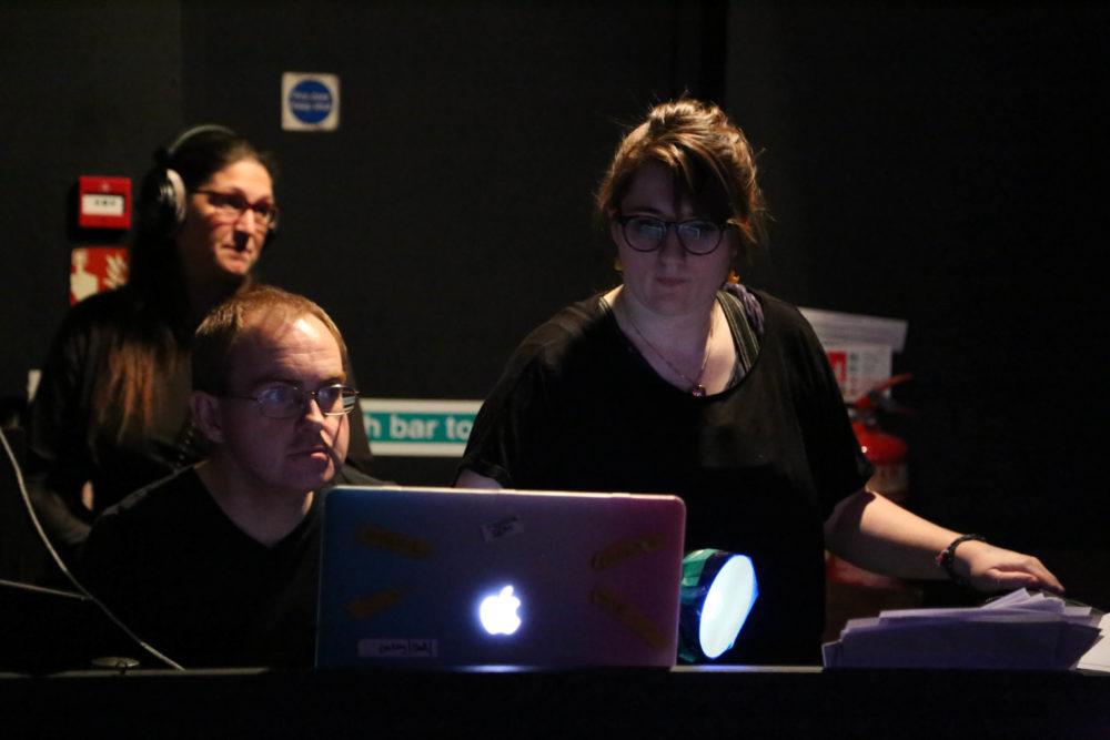 Tshari King recording, Gareth Brown on lights and Izzie Newbury on sound design