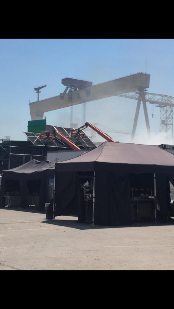 GoT cranes on set