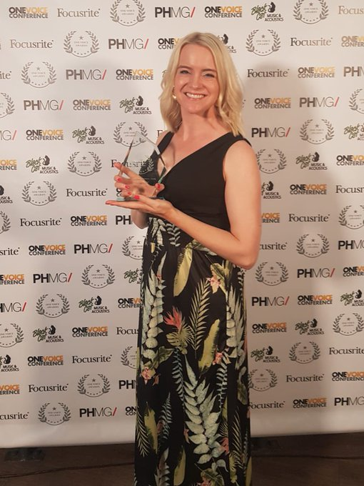 Billie Fulford Brown with her Best Actress Award for her role in Wireless Theatre's Pride and Prejudice for Audible UK